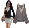 Free shipping women top big laciness V-neck puff sleeve long-sleeve pullover all-match basic shirt t-shirt Black grey white