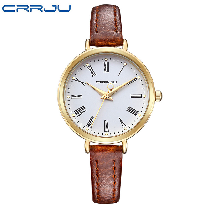 Crrju new arrival luxury brand quartz watch women small round dial watches ladies for girl for Watches brands for girl