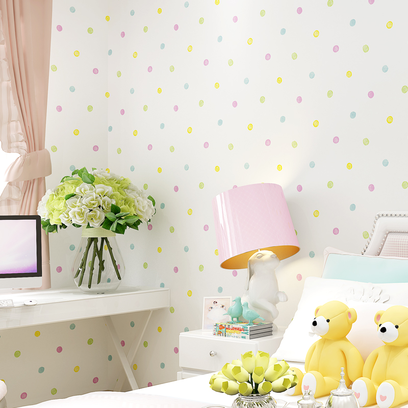 Green Environmentally Friendly Non-woven Wallpaper For Kids Room Cartoon Color Small Dots Children Room Bedroom Decor Wallpaper