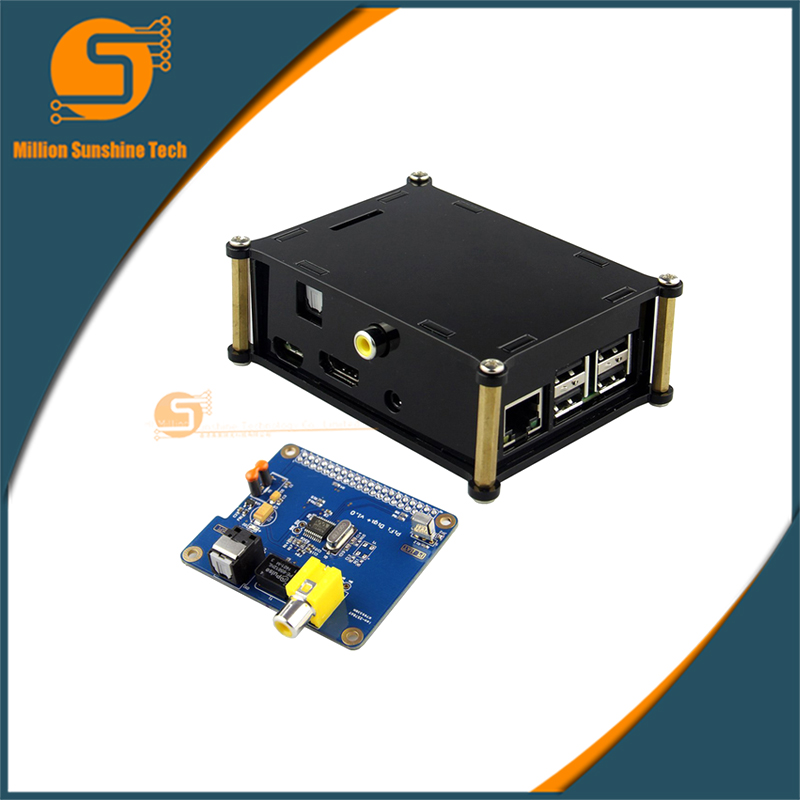 Protective Acrylic Case and Raspberry pi HIFI DiGi+ Digital Sound Card I2S SPDIF Optical Fiber Kits