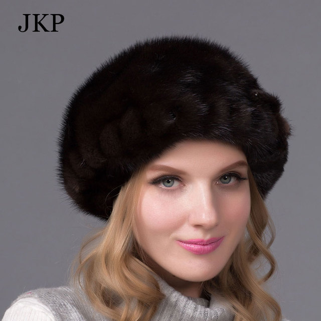 1310b76a50e Real mink fur hats for winter women fur cap with diamond 2016 new fashion octagon  mink fur beret Russia good quality elegant hat