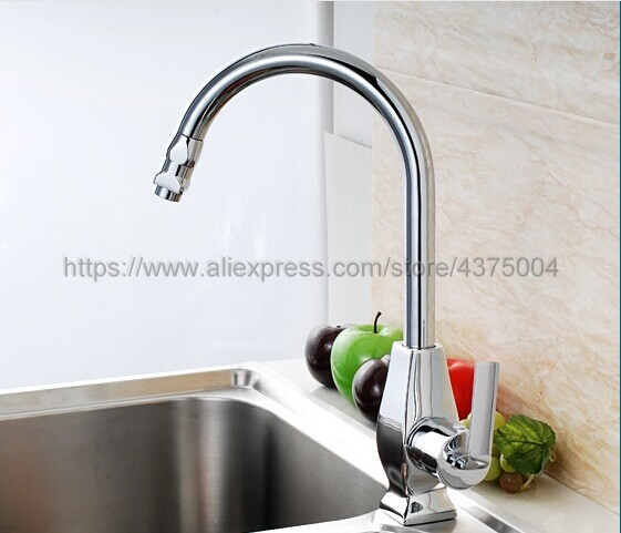 Chrome kitchen faucet single handle single hole kitchen tap 360 degree rotation spout cold and hot water mixer Nsf103