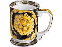 Кружка Lefard, Желтый цветок на черном, 450 мл
