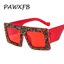 PAWXFB 2019 Vintage Diamond Frame Square Sunglasses Women New Men Ladies UV400 gafas de sol