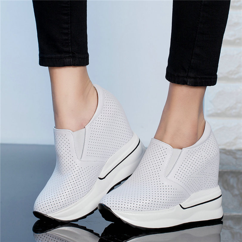 Vulcanized Shoes Womens Tennis Shoes Cow Leather Wedges High Heel Pumps Walking Trainers Platform Creepers Casual Shoes Sandals
