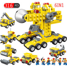 316pcs 6 In 1 Engineering Building Blocks Compatible Legoings Truck City Car Vehicle Construction Bricks Toys For Children