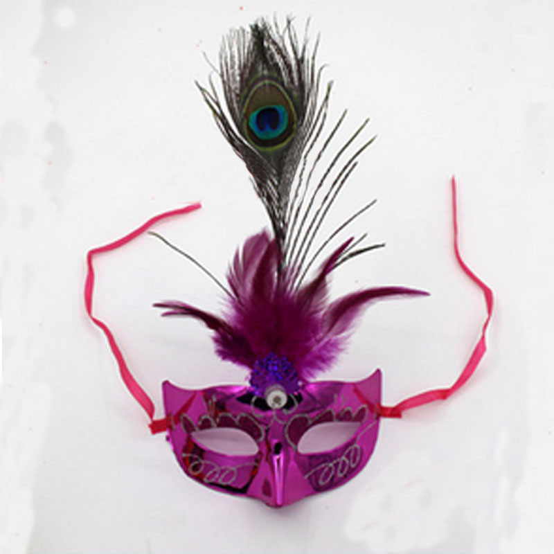 Led Flashing Peacock Feather Fiber Mask Light Up Princess Masquerad Ball Party Mask Party Decor Christmas Navidad Halloween Party Masks Festive & Party Supplies