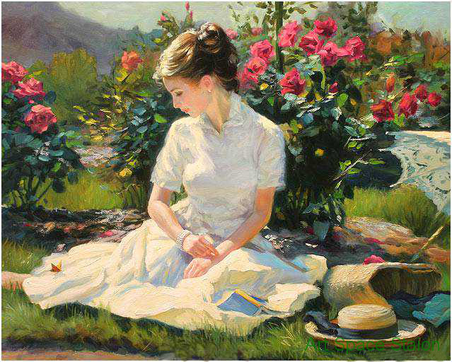 Modern Lanscape Oil Painting Of Beautiful Woman With