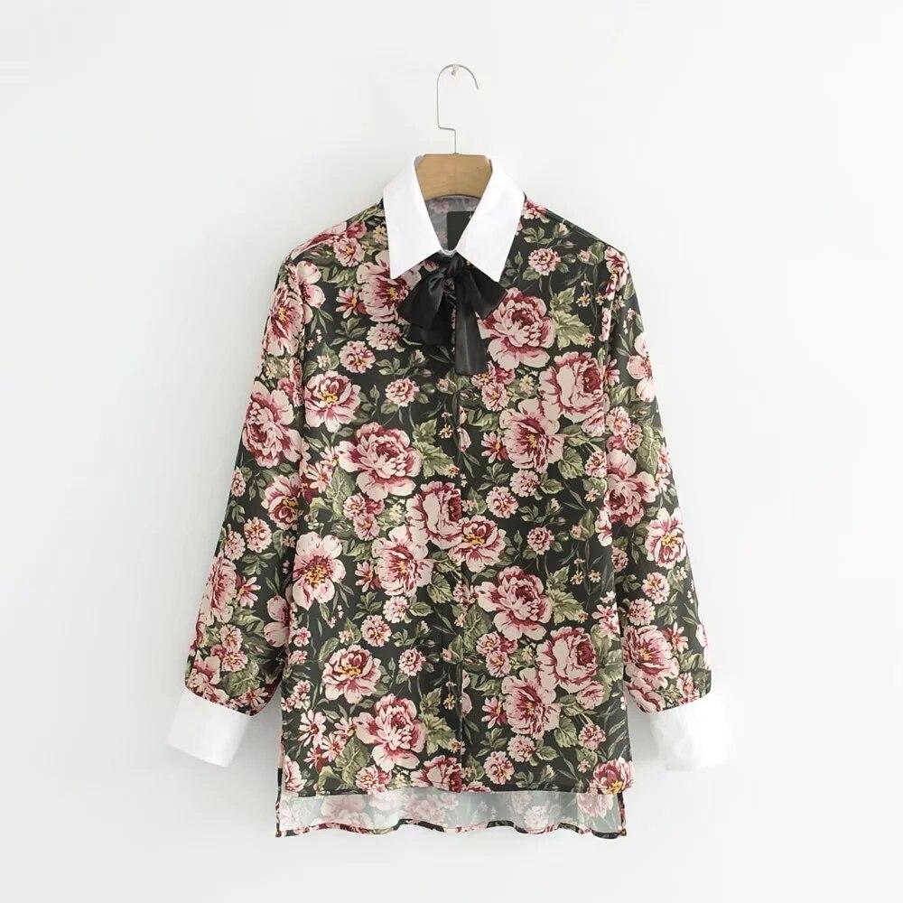 034e28de07 Gravata borboleta Blusa Estampa Floral Femme Camisa Das Senhoras das  mulheres Do Escritório de Trabalho Top