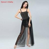Women Belly Dance Set Black 2pcs Top Skirt Costumes Dress Professional Women Belly Dance Costumes S
