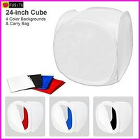 Fusitu الجدول الأعلى الأبيض مكعب التصوير خيمة 24x24 inch منتشر لينة ضوء مربع مع 4 اللون الخلفيات