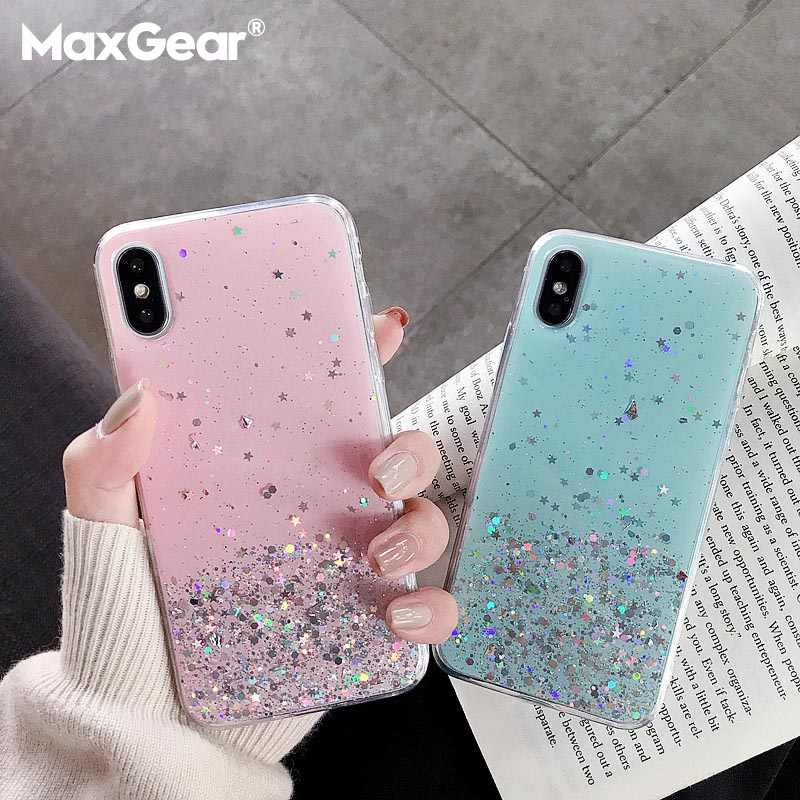 Glitter Star Silicone Case For Huawei P10 P20 Lite P30 Pro Nova 3 3i 4 Clear Cute Sequins Soft Cover For Honor 10 Lite V10 V20