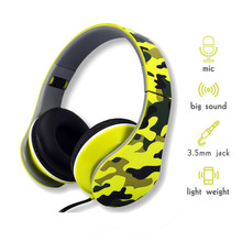 High Quality Folding Wired Style Camouflage 3.5mm Audio Earphones Stereo Headset Cable for Android Smartphone, PC, Mp3/mp4