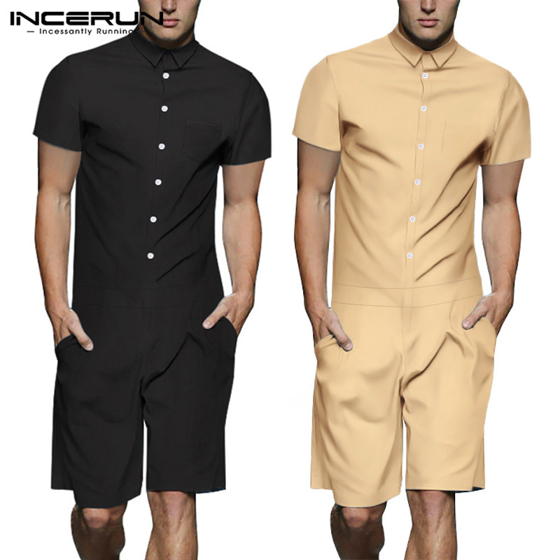 INCERUN 2020 Stylish Jumpsuit Men Rompers Casual Pants Button Streetwear Shortsleeve Playsuit Solid Loose Men Cargo Overalls 5XL