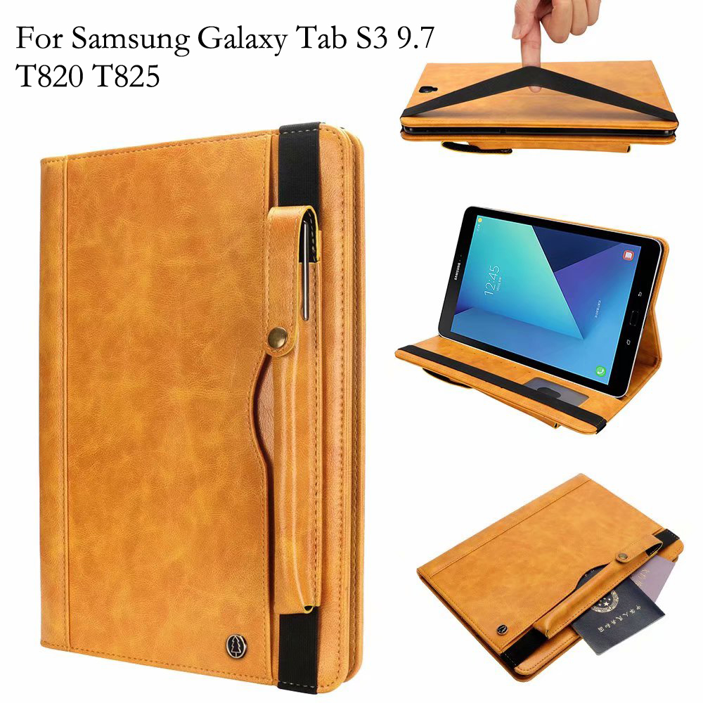 For Samsung Galaxy Tab S3 9.7 inch Flip Case T820 T825 Cover Retro Business Tablet Leather Wallet With Stand Card Slots CasesFor Samsung Galaxy Tab S3 9.7 inch Flip Case T820 T825 Cover Retro Business Tablet Leather Wallet With Stand Card Slots Cases