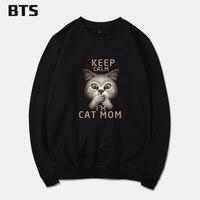 BTS לשמור על קור רוחי אני אמא של חתול Harajuku בני סווטשירט מזדמן שרוול קצר עיצוב מצחיקה אופנה נים הגברים סווטשירט אימונית