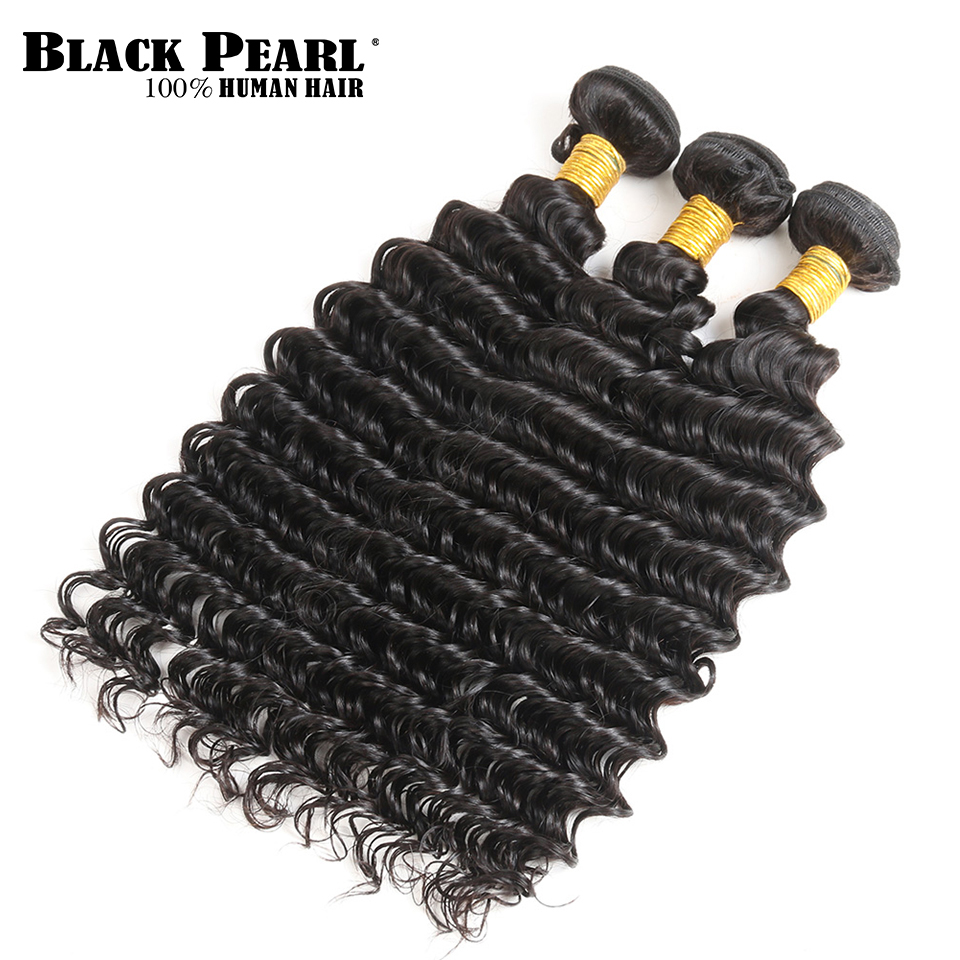 BlackPearl Pre-Colored Remy Peruvian Hair Bundles with Closure Human Hair Deep Wave Bundle With Closure 4x4 Lace Closure