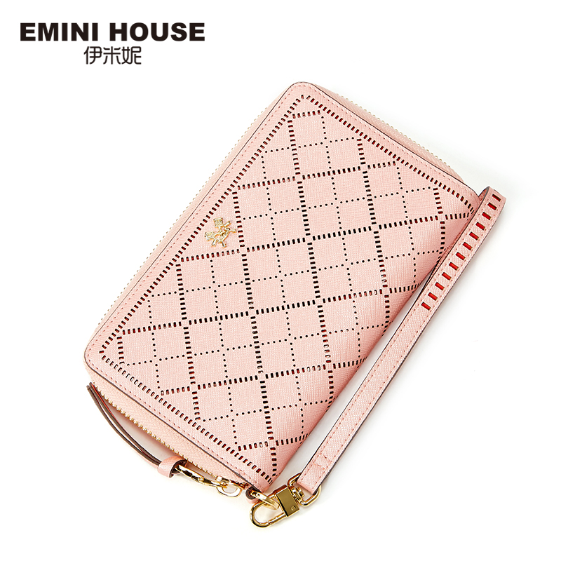 EMINI HOUSE Hollow Women Long Wallet Split Leather Women Wallets Zipper & Hasp Wallet  Lady Purse Coin Purse Organizer Wallets