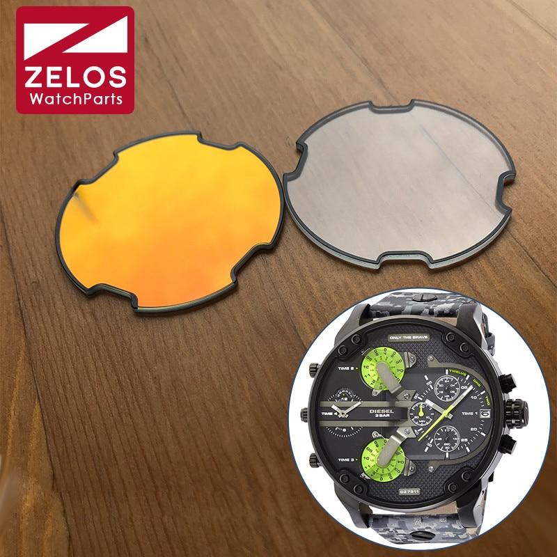 Vidro para Diesel Mineral Cristal Grande Cronógrafo Homem Relógio Dz7395 7370 sr Pai
