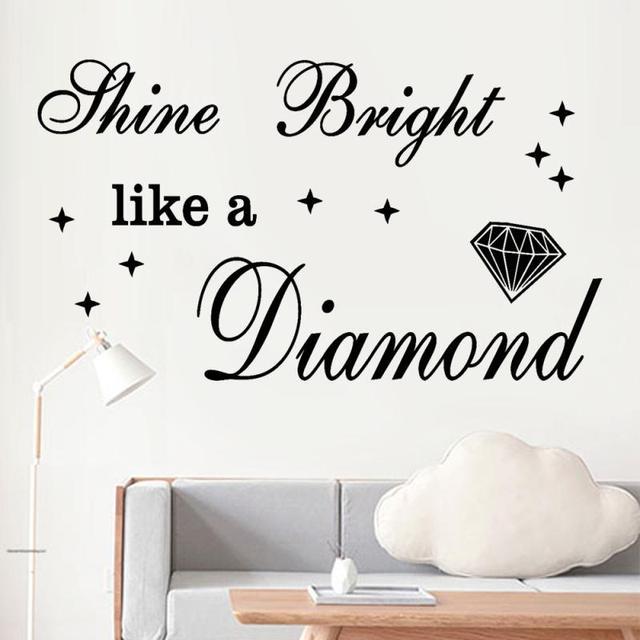 "pvc ""shine bright like a diamond"" vinyl wall art quote wall sticker"