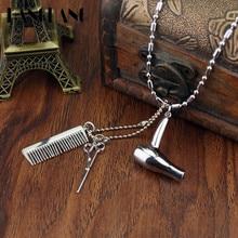Creative Jewelry Neck lace Tools Hair Dryer/Scissor/Comb Pendants Necklace Barber Shop Hair Dresser Present Necklace Collier