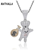 Lovely Iced Out AAA Cubic Zirconia Stone Purse Doll Pendant Men's Dollar Pouch Charm Chain Necklace Collier Hiphop Jewelry