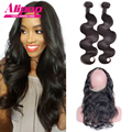 Pre Plucked 360 Lace Frontal With Bundles,Indian Body Wave With Closure,360 Lace Frontal Closure With Bundles 100% Human Hair