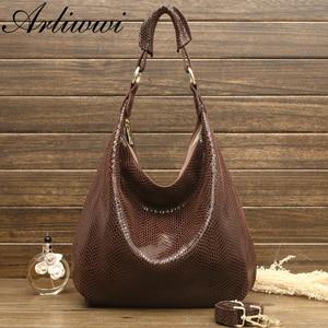 Image 2 - Arliwwi 100% Genuine Leather Shiny Serpentine Shoulder Bags Big Casual Soft Real Snake Embossed Skin Big Bag Handbags Women GB02