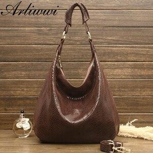 Image 2 - Arliwwi 100% en cuir véritable brillant Serpentine sacs à bandoulière grand décontracté doux réel serpent en relief peau grand sac sacs à main femmes GB02