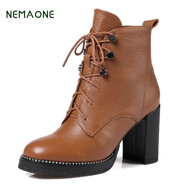 NEMAONE Women Platform Winter Ankle Boots Fashion Suede High Heels Botas Mujer Lace Up Gladiator Zapatos Mujer Shoes Woman