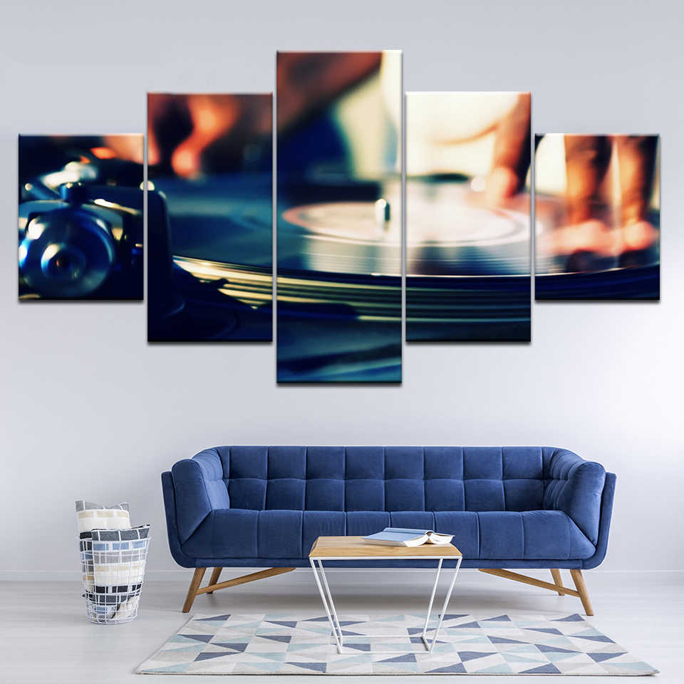 Vintage Restaurant Home Decor HD Prints 5 Set Gramophone Of Music Instruments Canvas Poster Wall Modular Pictures Art Paintings