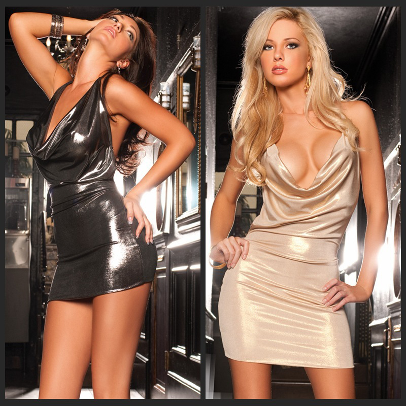de2d0a0bc3 Women Sexy Faux Leather Shiny Erotic PU Dress Low Neck Sleeveless Bandage  Bodycon Mini Dress Sexy Club Dancing Dresses-in Dresses from Women s  Clothing on ...