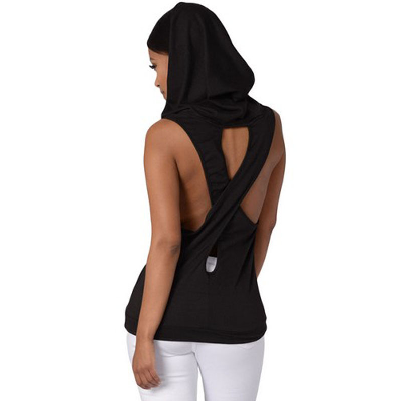 Fitness Backless Cross Sport T Shirt Women Breathable Sleeveless Shirt Gym Clothes Running Sportswear Hooded Yoga Tops Dropship