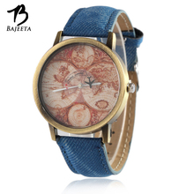 BAJEETA New Casual Leather Women Watch Ladies Mens Vintage Analog Quartz Watches Female Aircraft World Map Wristwatch Blue Clock