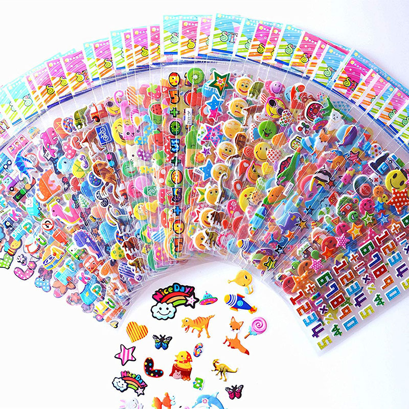 10 Sheets Stickers 3D Cartoon Stickers Waterproof Bubble PVC DIY Sticker Gift For Baby Girls Boys Cartoon Animal Dinosaur Cakes