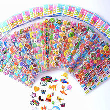 10 Sheets Stickers 3D Cartoon Stickers Waterproof Bubble PVC DIY Sticker Gift for Baby Girls Boys Cartoon Animal dinosaur Cakes(China)
