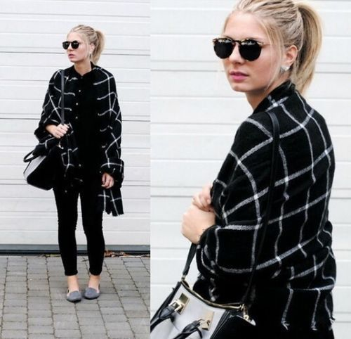 New Lady Women Blanket black white Plaid Cozy Checked font b Tartan b font Scarf Wraps