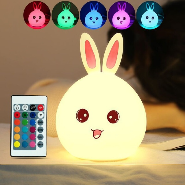 7 Colors Cute Rabbit LED USB Children Night Light Silicone Touch Cartoon Baby Beside Lamp Breathing LED Children's Toys Gift