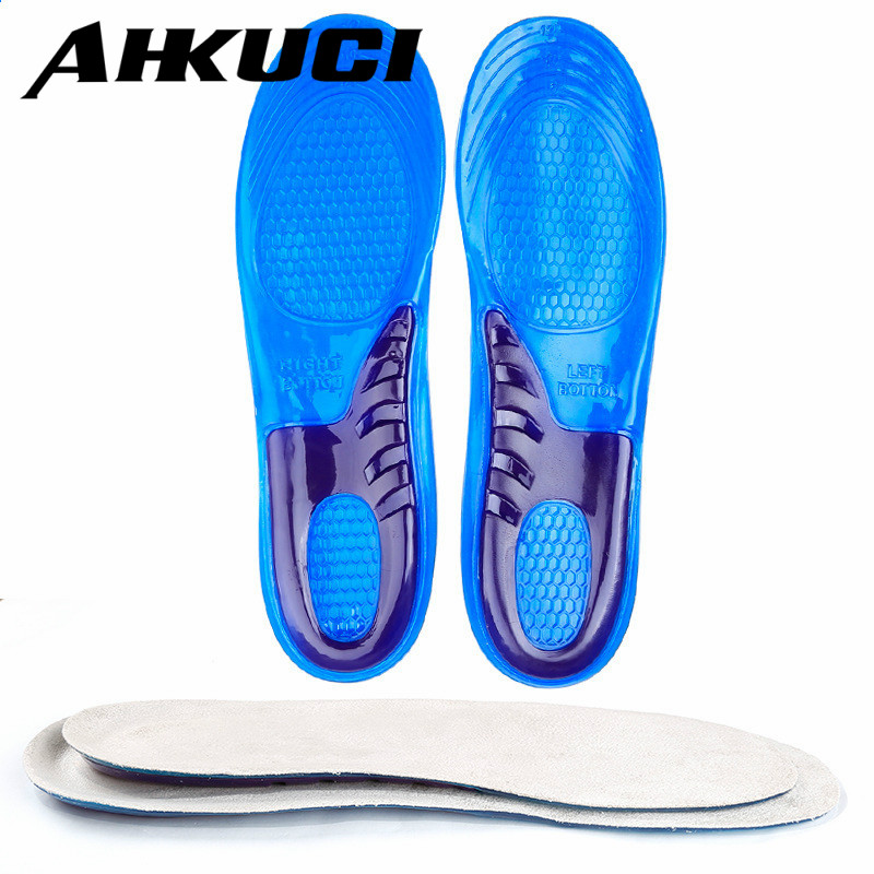Soft Silicone Sports Insoles for Men and Women Shock-Absorbant Insoles Shoes Pad 2017 promotion gel insoles shock