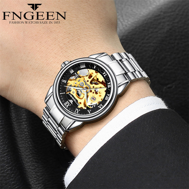 FNGEEN Men 39 s Mechanical Self Wind Watches Watch Men Luxury Waterproof Exquisite Skeleton Movement Business Gift Automatic Watche in Mechanical Watches from Watches
