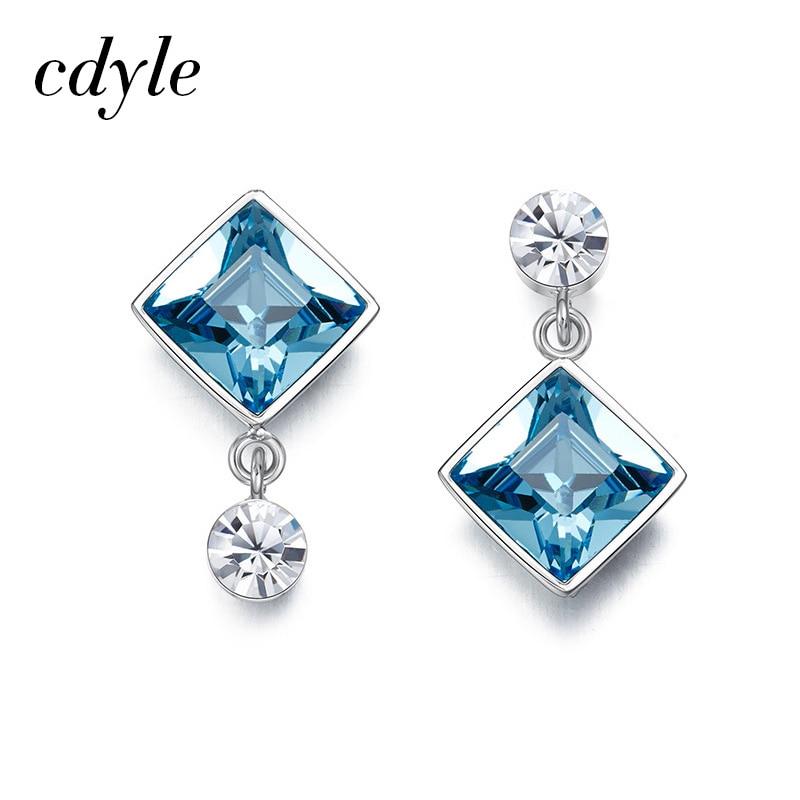 Cdyle Women Drop Earrings Embellished with crystal Earrings Luxury Gold Blue Purple Jewelry Square Stone Earring
