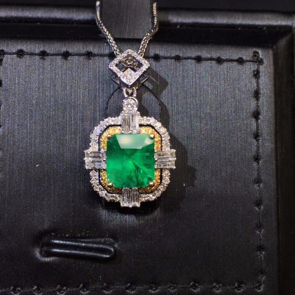Bijoux fins certificat AIGS véritable or blanc 18 K AU750 vert naturel émeraude 1.29ct pierres précieuses pendentifs pour femmes collier fin