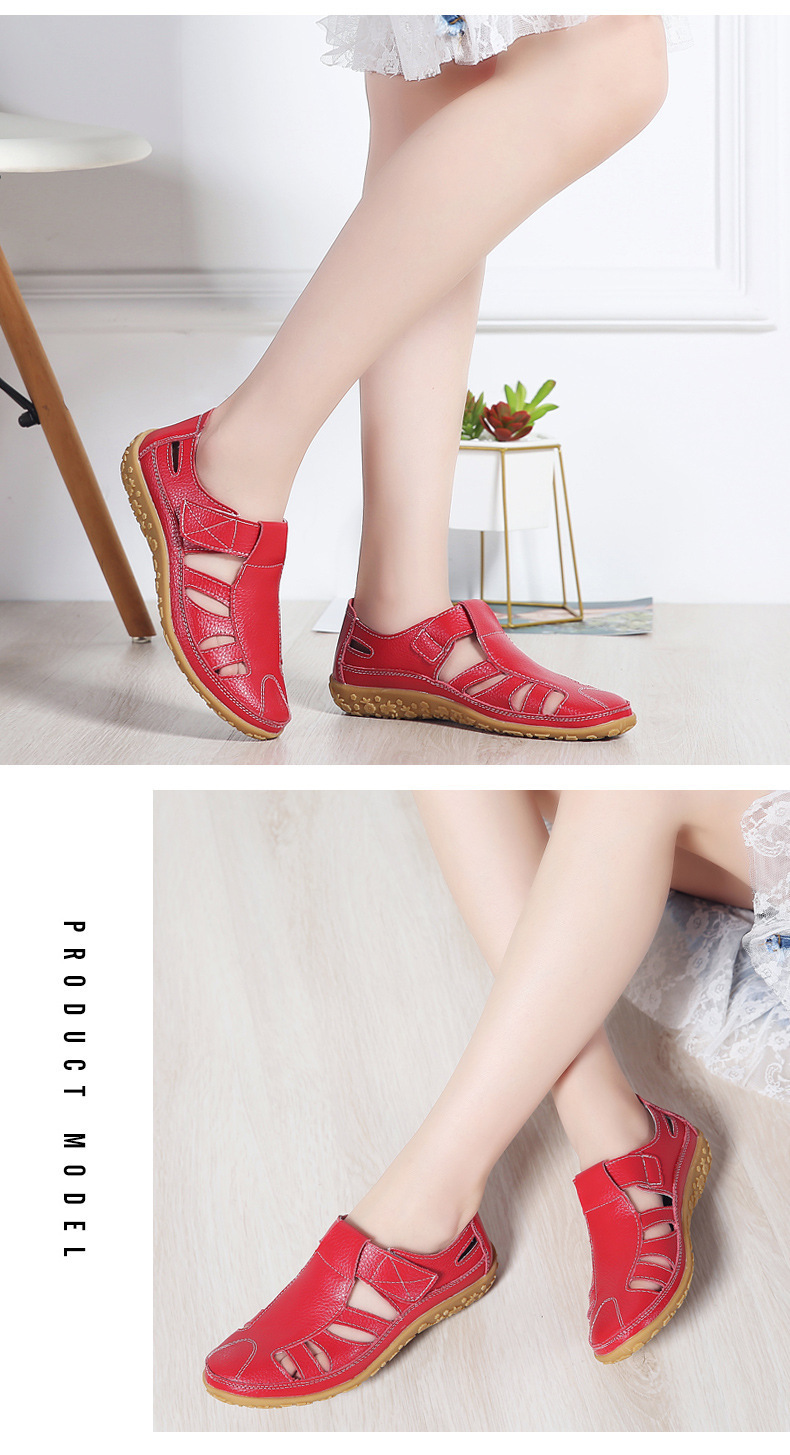2019 Women Gladiator Sandals Shoes Genuine Leather Hollow Flat Sandals Ladies Casual Soft Bottom Summer Shoes Women Beach Sandal
