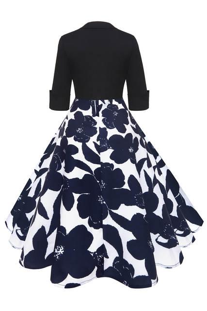 a13328e9ef6d0 US $27.84 |MisShow 2018 Autumn Half Sleeve Vintage Dresses Navy Blue Floral  Printed 1950s 60s Party Women Dresses 2XL Dresses Vestidos-in Dresses from  ...