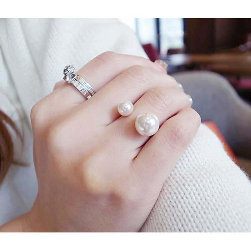 MYHFKK 2019 best-selling fashion jewelry ladies ring street shooting accessories imitation pearl ring adjustable ring JZ001