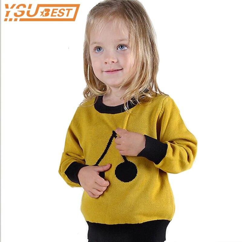 Campure 2018 cereza patrón niños cálidos Tops niños y niñas manga larga suéteres suéter 100% algodón negro amarillo suéter