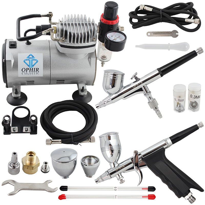OPHIR 2 Dual-Action Airbrush Kit with PRO Air Compressor for Model Paint 110V 220V Cake Airbrush Compressor Set_AC089+004+069
