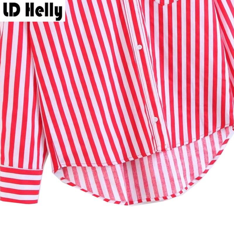 LD Helly 2017 Для женщин красный, белый в полоску Блузка карманы отложной воротник с длинными рукавами женский рубашка Топы корректирующие blusas ...