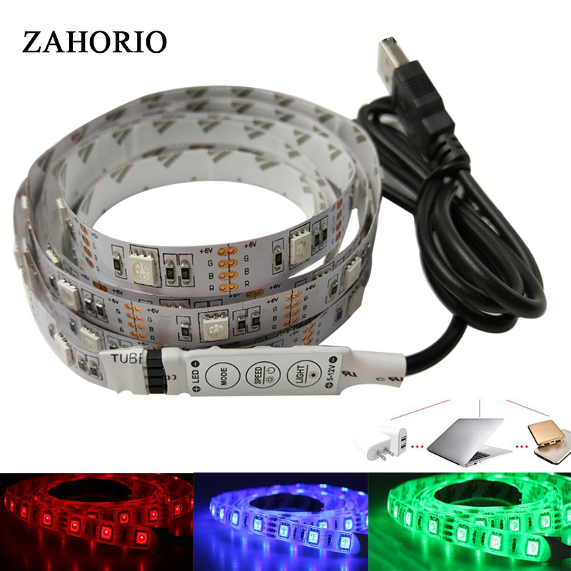 5050 RGB USB LED Strip Light 50CM 1M 2M Set TV/Computer Backlight With 3key/17key RGB Controller Flexible Light Let Diode Tape