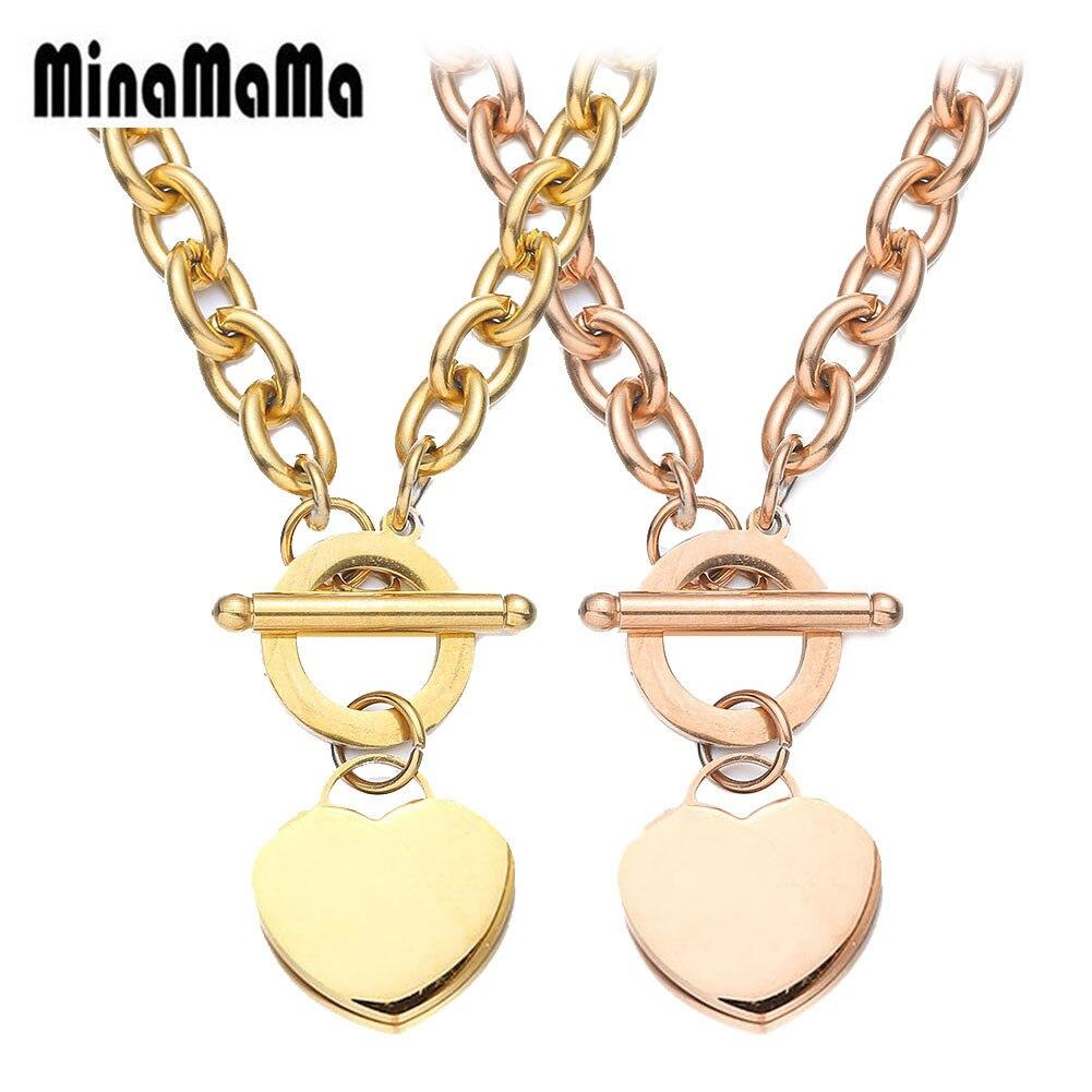 Женские ожерелья 316L, цепочка из нержавеющей стали, ожерелье в виде чистого сердца для женщин, серебро, розовое золото, ювелирное изделие|Ожерелья с подвеской| | - AliExpress